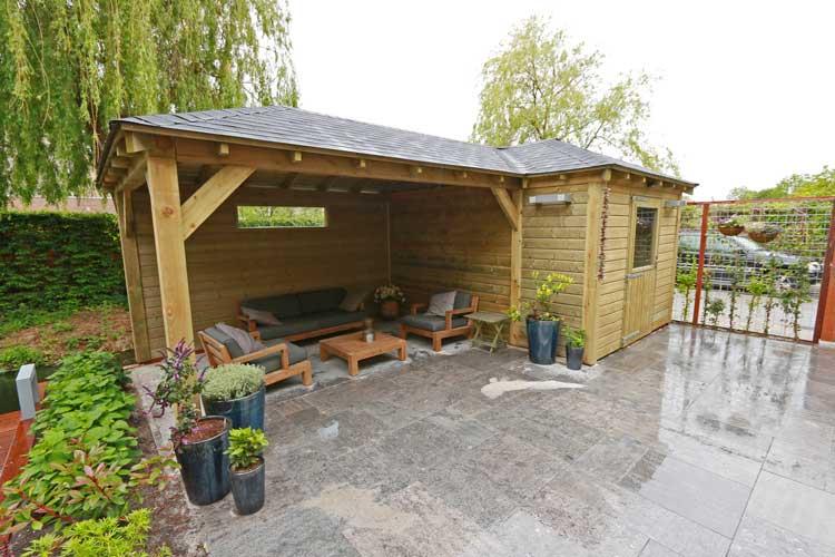 tuinhuis met overkapping - heijboer tuinhout