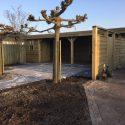Vuren tuinhuis met overkapping met bevelsiding rabat