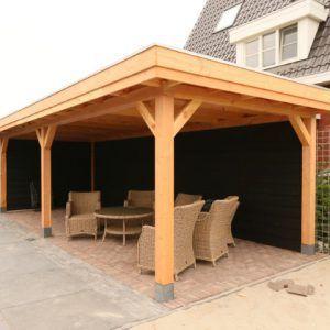 Douglas overkapping met plat dak